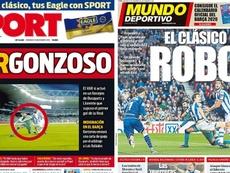 Capas dos jornais Mundo Deportivo e Sport do dia 15-12-19. Montaje/Sport/MundoDeportivo