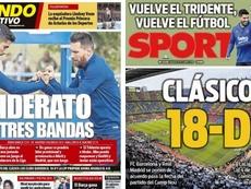 Capas dos jornais Mundo Deportivo e Sport. Montagem/MD/Sport