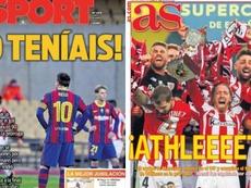 Les Unes des journaux sportifs d'Espagne du 18 janvier 2021. Montage/Sport/AS