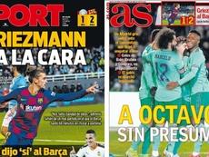 Capas dos jornais Sport e AS de 23-01-20. Sport/AS