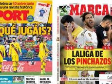 Les Unes des journaux sportifs espagnols du 03/11/2019. Montage/Sport/Marca