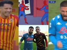 Los Insigne y el meme de Spiderman. Capturas/MovistarLigaCampeones