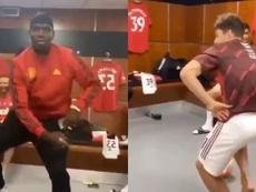 Pogba and James danced in the dressing room. Screenshots/Twitter/OmikunleJoseph5