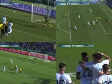 Argentina scored three quickfire goals against Ecuador in Elche. Capturas/DAZN