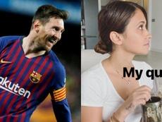 Montaje de Messi y Antonella. AFP/Instagram