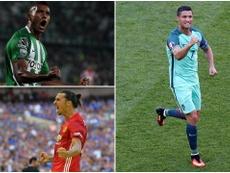 Miguel Borja, Zlatan Ibrahimovic and Cristiano Ronaldo. BeSoccer