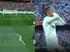 Piqué salvou o Barcelona em cima da linha. Captura/TVE