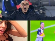 Sarri irrumpió en un vídeo de Georgina. AFP/Instagram/Georginagio