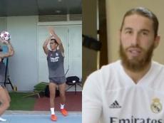 Ramos aprovechó el tiempo para relajarse. Capturas/RealMadrid