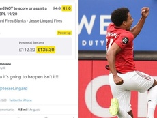 Lingard scored and ruined a bet. Montage/Twitter/AFP