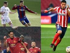Suárez, Valverde y Cavani se entonan para la 'Celeste'. AFP/EFE