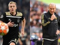 Zidane, responsable au coup de frein à l'opération Van de Beek. Montage/AFP