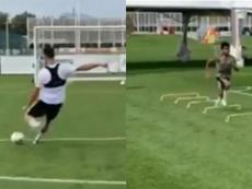 De tal palo, tal astilla: así entrenan Cristiano y Cristiano Junior. Twitter/SC_ESPN