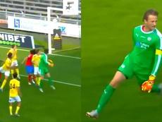 Lindegaard sumó un punto importantísimo para su equipo. Captura/Eurosport