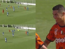 Cristiano Ronaldo marcou o primeiro da Juventus em amistoso contra o Novara Calcio. Captura/SkySport