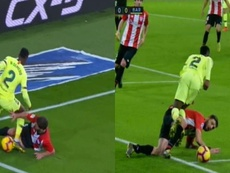 El VAR actuó en la última jugada del Athletic-Barcelona. Captura/Movistar