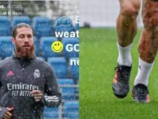 Ramos, luciendo botas de Adidas. Captura/SergioRamos