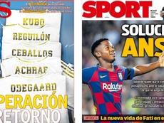 Les Unes d'AS et de Sport du 26-10-2019. Montages/AS/Sport