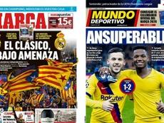Capas da Marca e Mundo Deportivo do dia 11-12-19. Montagem/Marca/Mundo Deportivo