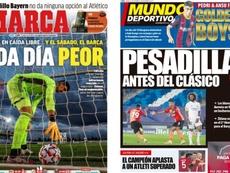 As capas da imprensa esportiva. Montaje/Marca/MundoDeportivo