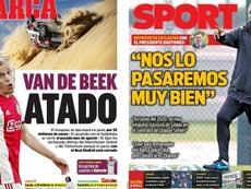 Les Unes des journaux sportifs en Espagne du 16/01/2020. Montage/Marca/Sport