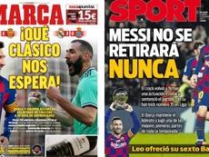 Les Unes des journaux sportifs en Espagne du 08/12/2019. Marca/Sport