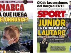 Capas das revistas Marca e Sport de 30-03-20. Marca/Sport