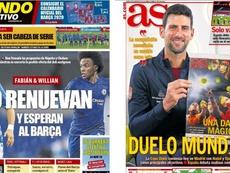 Portadas de la prensa deportiva del 18-11-19. Montaje/MD/AS