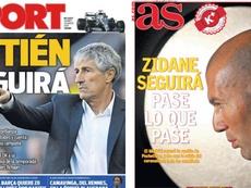 Les Unes des journaux sportifs en Espagne du 20 mars 2020. Montage/Sport/AS