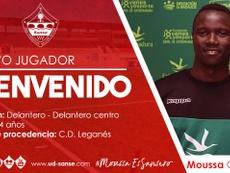 Moussa Camara ha firmado con el Sanse hasta 2021. Twitter/UDSanse