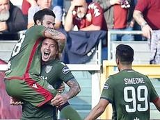 Nahitán Nández al fin se estrenó con el Cagliari. EFE