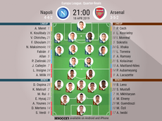 Napoli v Arsenal, Europa League 2018/19, quarter-final 2nd leg - Official line-ups. BESOCCER