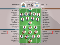 Newcastle v Man City, FA Cup quarter finals, 28/06/2020 - official line-ups. BeSoccer