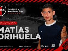 Newell's anunció el fichaje de Matías Orihuela. Twitter/CANOBoficial