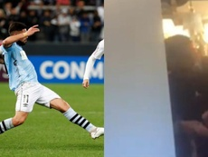 Jogador do Wanderers agride sua companheira em público. EFE/Veleznazarena