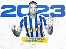 O zagueiro Pepe renova com o FC Porto até 2023. Twiter @FCPorto