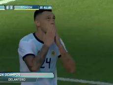 Ocampos: dos partidos con Argentina, dos goles. Captura/Twitter/DAZN_ES