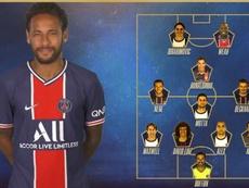Neymar fez seleção com os melhores da história do clube conforme sua opinião. Twitter/PSG_espanol