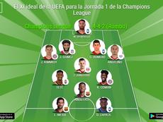 El XI ideal de la UEFA para la Jornada 1 de la Champions League. BeSoccer