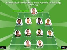 El once ideal de BeSoccer para la Jornada 16 de LaLiga 2019-20. BeSoccer