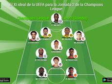 El once ideal de la UEFA para la Jornada 2 de Champions League. BeSoccer