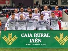 El Real Jaén hizo sus dos goles en la primera parte. Twitter/RealJaén