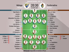 Onces del Málaga-Ponferradina. BeSoccer