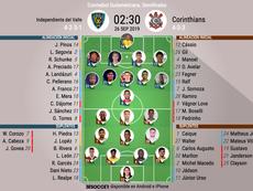 Onces oficiales del Independiente-Corinthians, partido de vuelta de 'semis' de la Sudamericana. BS