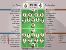 Onces oficiales del Las Palmas-Ponferradina. BeSoccer