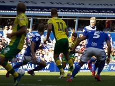 Onel Hernández marcó su primer gol con la camiseta del Norwich. Twitter/NorwichCityFC