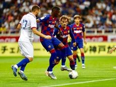 Dembélé le puso ganas, pero estuvo impreciso. FCBarcelona