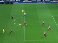 Alcácer hizo su segundo gol con el Villarreal. Captura/Movistar