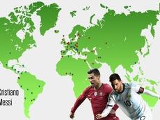 Los países colonizados por Cristiano y Messi. BeSoccer