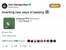 El 'pase' de Cesc. Captura/Twitter/ASMonaco